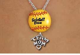 "<Br>        LEAD & NICKEL FREE!! <Br>      AN ALLAN ROBIN DESIGN!! <br>W19922N - ""SOFTBALL DIVA""  <BR>NECKLACE WITH SILVER TONE  <BR>     ""TEAM MOM"" CHARM  <BR>        FROM $6.19 TO $13.75 �2012"