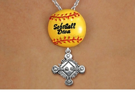 "<Br>        LEAD & NICKEL FREE!! <Br>   AN ALLAN ROBIN DESIGN!! <br>W19923N - ""SOFTBALL DIVA""  <BR>NECKLACE WITH SILVER TONE  <BR>""A DIAMOND IS A GIRLS BEST FRIEND""  <BR>  CHARM FROM $6.19 TO $13.75 �2012"