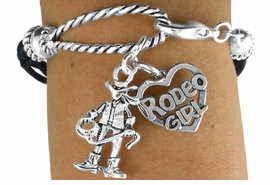 "<Br>               LEAD & NICKEL FREE!!<Br>                EXCLUSIVELY OURS!!<Br>          AN ALLAN ROBIN DESIGN!!<Br>W14571B - 2-CHARM BLACK MULTI<BR>    STRAND COWGIRL ""RODEO GIRL""<Br>   ROPE BRACELET AS LOW AS $4.73"