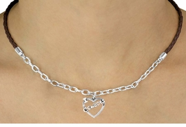 "<Br>             LEAD & NICKEL FREE!!<Br>              EXCLUSIVELY OURS!!<Br>         AN ALLAN ROBIN DESIGN!!<Br>   W14689N - ""I LOVE COWBOYS""<Br>  BROWN BRAIDED & SILVER TONE<Br>CHAIN NECKLACE FROM $5.06 TO $11.25"