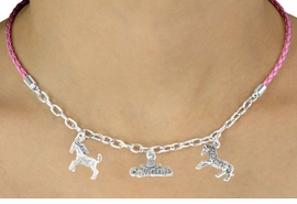 "<Br>                LEAD & NICKEL FREE!!<Br>                 EXCLUSIVELY OURS!!<Br>           AN ALLAN ROBIN DESIGN!!<Br>          W14693N - PINK 3-CHARM<br>""I LOVE HORSES COWGIRL"" BRAIDED<Br>& CHAIN NECKLACE FROM $6.75 TO $15.00"