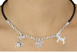 "<Br>                 LEAD & NICKEL FREE!!<Br>                  EXCLUSIVELY OURS!!<Br>            AN ALLAN ROBIN DESIGN!!<Br>        W14694N - BLACK 3-CHARM<br>""I LOVE BARREL RACING"" BRAIDED &<Br>CHAIN NECKLACE FROM $6.75 TO $15.00"