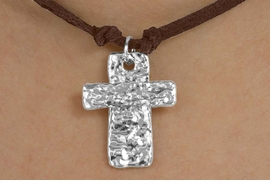 <BR>                 LEAD & NICKEL FREE!!<Br>                  EXCLUSIVELY OURS!!<Br>           AN ALLAN ROBIN DESIGN!!<Br>W15272N - BROWN SUEDE LEATHER<Br>TEXTURED METAL CROSS NECKLACE<Br>                FROM $4.16 TO $9.25