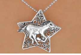 <Br>                 LEAD & NICKEL FREE!!<Br>                  EXCLUSIVELY OURS!!<Br>            AN ALLAN ROBIN DESIGN!!<Br>   W15714NE - SILVER TONE FILIGREE<Br>STAR & RUNNING HORSE NECKLACE &<Br>  EARRING SET FROM $8.44 TO $18.75