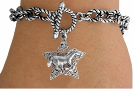 <Br>             LEAD & NICKEL FREE!!<Br>              EXCLUSIVELY OURS!!<Br>        AN ALLAN ROBIN DESIGN!!<Br>W15715B - SILVER TONE FILIGREE<Br>STAR & RUNNING HORSE TOGGLE<Br>BRACELET FROM $5.06 TO $11.25