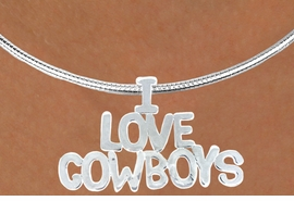 "<Br>                  LEAD & NICKEL FREE!!<Br>                   EXCLUSIVELY OURS!!<Br>             AN ALLAN ROBIN DESIGN!!<Br> W16153N - LARGE ""I LOVE COWBOYS""<br>SILVER TONE CABLE COLLAR NECKLACE<Br>                 FROM $5.06 TO $11.25"