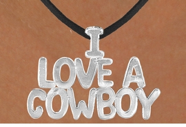 "<Br>                  LEAD & NICKEL FREE!!<Br>                   EXCLUSIVELY OURS!!<Br>            AN ALLAN ROBIN DESIGN!!<Br>W16157N - LARGE ""I LOVE A COWBOY""<Br>       BLACK SUEDE NECKLACE FROM<Br>                          $3.38 TO $7.50<BR>                                  ©2010"