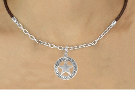 <Br>                  LEAD & NICKEL FREE!!<Br>                   EXCLUSIVELY OURS!!<Br>             AN ALLAN ROBIN DESIGN!!<Br>W16225N - WESTERN STAR CHARM &<Br>    BROWN BRAIDED NECKLACE WITH<Br>         CHAIN FROM $4.50 TO $10.00