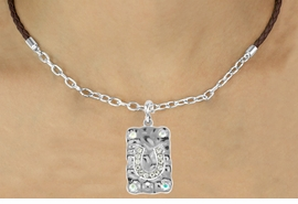 <Br>                   LEAD & NICKEL FREE!!<Br>                    EXCLUSIVELY OURS!!<Br>              AN ALLAN ROBIN DESIGN!!<Br>        W16237N - AUSTRIAN CRYSTAL<Br>CRIMPED METAL HORSESHOE DOG TAG<Br>  & BROWN BRAIDED NECKLACE WITH<Br>          CHAIN FROM $6.75 TO $15.00