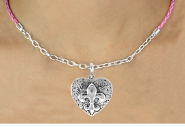 <Br>               LEAD & NICKEL FREE!!<Br>                EXCLUSIVELY OURS!!<Br>          AN ALLAN ROBIN DESIGN!!<Br>W16242N - FLEUR DE LIS ON HEART<Br>   & PINK BRAIDED NECKLACE WITH<Br>        CHAIN FROM $5.06 TO $11.25