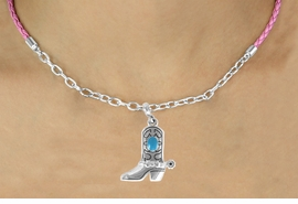 <Br>              LEAD & NICKEL FREE!!<Br>               EXCLUSIVELY OURS!!<Br>         AN ALLAN ROBIN DESIGN!!<Br>    W16245N - TURQUOISE STONE<Br>ACCENTED COWBOY BOOT CHARM<Br> & PINK BRAIDED NECKLACE WITH<Br>      CHAIN FROM $5.06 TO $11.25
