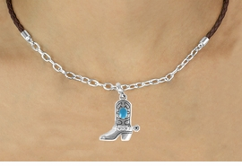 <Br>                LEAD & NICKEL FREE!!<Br>                 EXCLUSIVELY OURS!!<Br>           AN ALLAN ROBIN DESIGN!!<Br>      W16246N - TURQUOISE STONE<Br>  ACCENTED COWBOY BOOT CHARM<Br>& BROWN BRAIDED NECKLACE WITH<Br>        CHAIN FROM $5.06 TO $11.25