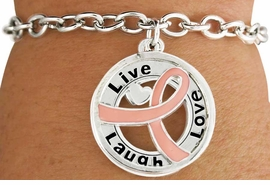 "<BR>                        SALE!  LEAD & NICKEL FREE!!<Br>                          EXCLUSIVELY OURS!!<Br>                   AN ALLAN ROBIN DESIGN!!<bR>         W18643B - PINK AWARENESS RIBBON <Br>        LAYERED ""LIVE LAUGH LOVE"" TOGGLE<Br>                                   BRACELET $ .99 <BR>      MINIMUM QUANTITY 24 BRACELETS  ©2011<br>               NO ADDITIONAL DISCOUNTS APPLY"