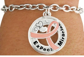 "<BR>                    SALE! LEAD & NICKEL FREE!!<Br>                          EXCLUSIVELY OURS!!<Br>                   AN ALLAN ROBIN DESIGN!!<bR>         W18644B - PINK AWARENESS RIBBON <Br>        LAYERED ""EXPECT MIRACLES"" TOGGLE<Br>                                   BRACELET $.99 <BR>      MINIMUM QUANTITY 24 BRACELETS  ©2011<br>             NO ADDITIONAL DISCOUNTS APPLY"