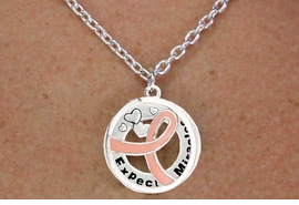 "<BR>                         LEAD & NICKEL FREE!!<Br>                          EXCLUSIVELY OURS!!<Br>                      AN ALLAN ROBIN DESIGN!!<bR>         W18646NE - PINK AWARENESS RIBBON <Br>        LAYERED ""EXPECT MIRACLES"" NECKLACE<Br>      EARRING SET FROM $6.75 TO $15.00 ©2011"