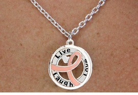 "<BR>                         LEAD & NICKEL FREE!!<Br>                          EXCLUSIVELY OURS!!<Br>                      AN ALLAN ROBIN DESIGN!!<bR>         W18647NE - PINK AWARENESS RIBBON <Br>    LAYERED ""LIVE LAUGH LOVE"" NECKLACE<Br>      EARRING SET FROM $6.75 TO $15.00 ©2011"
