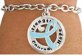 "<BR>                            LEAD & NICKEL FREE!!<Br>                             EXCLUSIVELY OURS!!<Br>                       AN ALLAN ROBIN DESIGN!!<bR> W18648B - TEAL AWARENESS RIBBON LAYERED<Br>         ""STRENGTH COURAGE HOPE"" TOGGLE<Br>          BRACELET FROM $3.94 TO $8.75 ©2011"