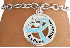 "<BR>                            LEAD & NICKEL FREE!!<Br>                             EXCLUSIVELY OURS!!<Br>                       AN ALLAN ROBIN DESIGN!!<bR>          W18649B - TEAL AWARENESS RIBBON <Br>            LAYERED ""EXPECT MIRACLES"" TOGGLE<Br>          BRACELET FROM $3.94 TO $8.75 ©2011"