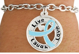 "<BR>                            LEAD & NICKEL FREE!!<Br>                             EXCLUSIVELY OURS!!<Br>                       AN ALLAN ROBIN DESIGN!!<bR> W18650B - TEAL AWARENESS RIBBON LAYERED<Br>         ""LIVE LAUGH LOVE"" TOGGLE<Br>          BRACELET FROM $3.94 TO $8.75 ©2011"