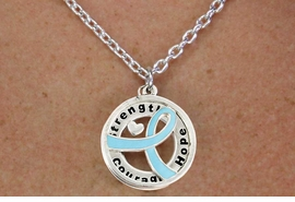 "<BR>                       LEAD & NICKEL FREE!!<Br>                        EXCLUSIVELY OURS!!<Br>                      AN ALLAN ROBIN DESIGN!!<bR>              W18651NE - TEAL AWARENESS <BR>     RIBBON LAYERED ""STRENGTH COURAGE <BR>                   HOPE"" NECKLACE & EARRING <Br>             SET FROM $6.75 TO $15.00 ©2011"