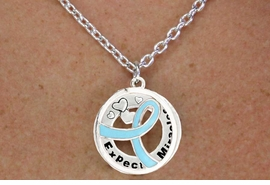 "<BR>                       LEAD & NICKEL FREE!!<Br>                        EXCLUSIVELY OURS!!<Br>                      AN ALLAN ROBIN DESIGN!!<bR>              W18652NE - TEAL AWARENESS <BR>     RIBBON LAYERED ""EXPECT MIRACLES"" <BR>                          NECKLACE & EARRING <Br>             SET FROM $6.75 TO $15.00 ©2011"