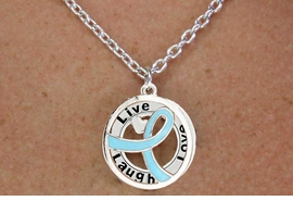 "<BR>                       LEAD & NICKEL FREE!!<Br>                        EXCLUSIVELY OURS!!<Br>                      AN ALLAN ROBIN DESIGN!!<bR>              W18653NE - TEAL AWARENESS <BR>            RIBBON LAYERED ""LIVE LAUGH <BR>                   LOVE"" NECKLACE & EARRING <Br>             SET FROM $6.75 TO $15.00 ©2011"