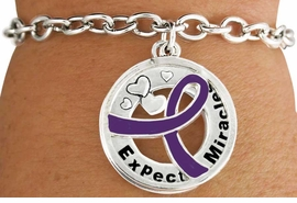 "<BR>                          LEAD & NICKEL FREE!!<Br>                           EXCLUSIVELY OURS!!<Br>                     AN ALLAN ROBIN DESIGN!!<bR>      W18655B - PURPLE AWARENESS RIBBON <Br>                 ""EXPECT MIRACLES"" TOGGLE<Br>          BRACELET FROM $3.94 TO $8.75 ©2011"