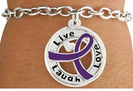 "<BR>                            LEAD & NICKEL FREE!!<Br>                             EXCLUSIVELY OURS!!<Br>                       AN ALLAN ROBIN DESIGN!!<bR>       W18656B - PURPLE AWARENESS RIBBON <Br>        LAYERED ""LIVE LAUGH LOVE"" TOGGLE<Br>          BRACELET FROM $3.94 TO $8.75 ©2011"