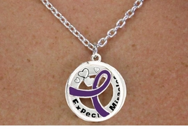 "<BR>                       LEAD & NICKEL FREE!!<Br>                        EXCLUSIVELY OURS!!<Br>                      AN ALLAN ROBIN DESIGN!!<bR>              W18658NE - PURPLE AWARENESS <BR>     RIBBON LAYERED ""EXPECT MIRACLES"" <BR>                          NECKLACE & EARRING <Br>             SET FROM $6.75 TO $15.00 ©2011"