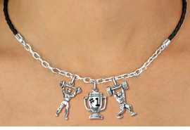 "<Br>                 LEAD & NICKEL FREE!!<Br>                  EXCLUSIVELY OURS!!<Br>            AN ALLAN ROBIN DESIGN!!<Br>        W19540N - BLACK 3-CHARM <br>   ""WEIGHTLIFTLING"" BRAIDED ROPE &<Br>CHAIN NECKLACE FROM $6.19 TO $13.75"