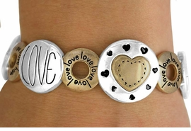 """<BR>                       LEAD & NICKEL FREE!!<Br>                       EXCLUSIVELY OURS!!!<Br>           W10803B - ANTIQUE TWO-TONE<br>""""HOPE FAITH LOVE"""" & SYMBOLS STRETCH<Br>                BRACELET AS LOW AS $5.95"""