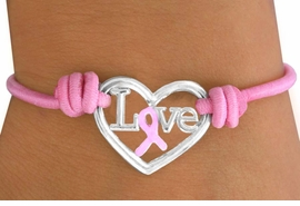 "<Br>                         LEAD & NICKEL FREE!!<BR>                         EXCLUSIVELY OURS!!<BR>                 W14913B - PINK AWARENESS<BR>                 ""LOVE"" HEART STRETCH BRACELET<Br>   MINIMUM QUANTITY 10 BRACELETS  ©2010<br>            NO ADDITIONAL DISCOUNTS APPLY"