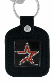 <Br>               LEAD & NICKEL FREE!!<BR>          OFFICIAL MLB LICENSED!!<Br>    W15103KC - HOUSTON ASTROS<Br>GENUINE BLACK LEATHER FRAMED<Br>       KEY CHAIN AS LOW AS $3.99