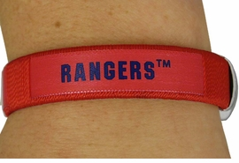 "<BR>             LEAD & NICKEL FREE!!<br>         OFFICIAL MLB LICENSED!<BR>W17785B - RED ""TEXAS RANGERS""<Br>            CUFF BRACELET FROM<br>                    $1.99"
