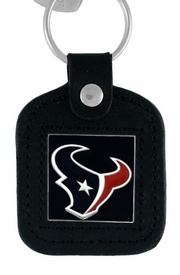 <Br>               LEAD & NICKEL FREE!!<BR>           OFFICIAL NFL LICENSED!!<Br>    W15126KC - HOUSTON TEXANS<Br>GENUINE BLACK LEATHER FRAMED<Br>       KEY CHAIN AS LOW AS $6.63