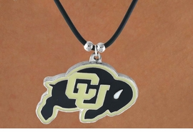 """<Br>                   LEAD & NICKEL FREE!!<Br> OFFICIALLY LICENSED COLLEGE LOGO!!<Br> W15150N - UNIVERSITY OF COLORADO<Br>""""BUFFALOES""""  BLACK CORD NECKLACE<Br>                        AS LOW AS $2.99"""