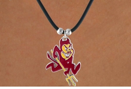 <Br>                   LEAD & NICKEL FREE!!<Br>OFFICIALLY LICENSED COLLEGE LOGO!!<Br>W15765N - ARIZONA STATE UNIVERSITY<Br>   SUN DEVILS BLACK CORD NECKLACE<Br>                  FROM $2.99