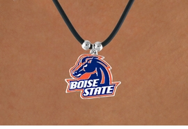 "<Br>                   LEAD & NICKEL FREE!!<Br>OFFICIALLY LICENSED COLLEGE LOGO!!<Br>   W15797N - BOISE STATE UNIVERSITY<Br>  ""BRONCOS"" BLACK CORD NECKLACE<Br>                  FROM $6.75 TO $15.00"