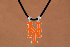 <Br>               LEAD & NICKEL FREE!!<Br>             OFFICIALLY LICENSED!!<Br>MAJOR LEAGUE BASEBALL LOGOS!!<Br>       W14816N - NEW YORK METS<Br>     BLACK CORD LOGO NECKLACE<br>                    AS LOW AS $2.99
