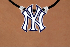 <Br>               LEAD & NICKEL FREE!!<Br>             OFFICIALLY LICENSED!!<Br>MAJOR LEAGUE BASEBALL LOGOS!!<Br>   W14817N - NEW YORK YANKEES<Br>     BLACK CORD LOGO NECKLACE<br>                    AS LOW AS $2.99