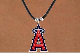 <Br>               LEAD & NICKEL FREE!!<Br>             OFFICIALLY LICENSED!!<Br>MAJOR LEAGUE BASEBALL LOGOS!!<Br> W14821N - LOS ANGELES ANGELS<Br>     BLACK CORD LOGO NECKLACE<br>                   AS LOW AS $2.99