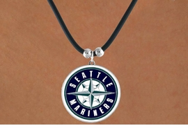<Br>               LEAD & NICKEL FREE!!<Br>             OFFICIALLY LICENSED!!<Br>MAJOR LEAGUE BASEBALL LOGOS!!<Br>    W14823N - SEATTLE MARINERS<Br>      BLACK CORD LOGO NECKLACE<br>                    AS LOW AS $2.99