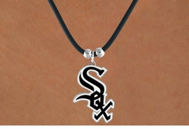 <Br>              LEAD & NICKEL FREE!!<Br>            OFFICIALLY LICENSED!!<Br>MAJOR LEAGUE BASEBALL LOGOS!!<Br>  W14828N - CHICAGO WHITE SOX<Br>     BLACK CORD LOGO NECKLACE<br>                   AS LOW AS $2.99