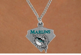 <Br>              LEAD & NICKEL FREE!!<Br>             OFFICIALLY LICENSED!!<Br>MAJOR LEAGUE BASEBALL LOGOS!!<Br>     W14832N - FLORIDA MARLINS<Br>            CHAIN LOGO NECKLACE<br>                   AS LOW AS $2.99