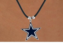 <Br>            LEAD & NICKEL FREE!!<Br>          OFFICIALLY LICENSED!!<Br>NATIONAL FOOTBALL LEAGUE!!!<Br> W14843N - DALLAS COWBOYS<Br> BLACK CORD LOGO NECKLACE<br>                AS LOW AS $6.30