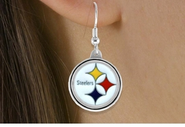 <bR>              LEAD & NICKEL FREE!!<Br>             OFFICIALLY LICENSED!!<Br>    NATIONAL FOOTBALL LEAGUE!!<Br>W14857E - PITTSBURGH STEELERS<Br> LOGO EARRINGS AS LOW AS $2.99