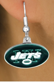 <bR>            LEAD & NICKEL FREE!!<Br>           OFFICIALLY LICENSED!!<Br>   NATIONAL FOOTBALL LEAGUE!!<Br>       W14893E - NEW YORK JETS<Br>LOGO EARRINGS AS LOW AS $2.99