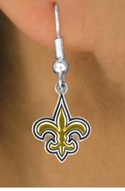 <bR>             LEAD & NICKEL FREE!!<Br>            OFFICIALLY LICENSED!!<Br>    NATIONAL FOOTBALL LEAGUE!!<Br>W14896E - NEW ORLEANS SAINTS<Br> LOGO EARRINGS AS LOW AS $4.73