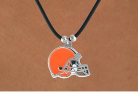 <Br>            LEAD & NICKEL FREE!!<Br>           OFFICIALLY LICENSED!!<Br>  NATIONAL FOOTBALL LEAGUE!!!<Br>W14931N - CLEVELAND BROWNS<Br>   BLACK CORD LOGO NECKLACE<br>                 AS LOW AS $2.99