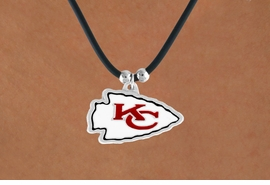 <Br>            LEAD & NICKEL FREE!!<Br>          OFFICIALLY LICENSED!!<Br> NATIONAL FOOTBALL LEAGUE!!!<Br>W14933N - KANSAS CITY CHIEFS<Br>   BLACK CORD LOGO NECKLACE<br>                 AS LOW AS $2.99